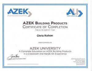 Certificate from Azek