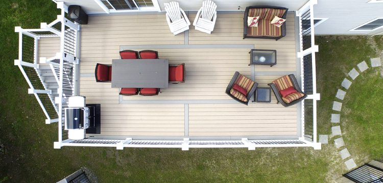 View of deck from above shows use of space with furnature