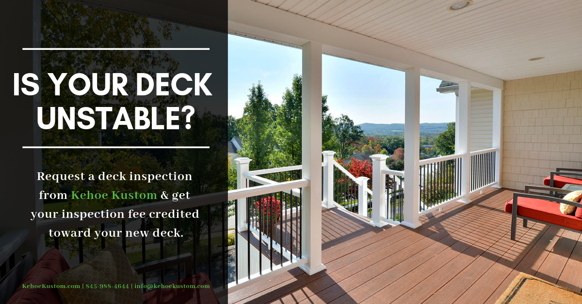 kehoe Kustom deck stability promotional image. request a deck inspection from NADRA certified deck inspector kehoe kustom orange county NY design Build company