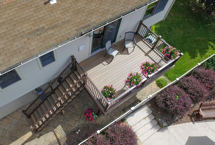 azeck deck by kehoe kustom, orange county set deck system NY aerial deck view