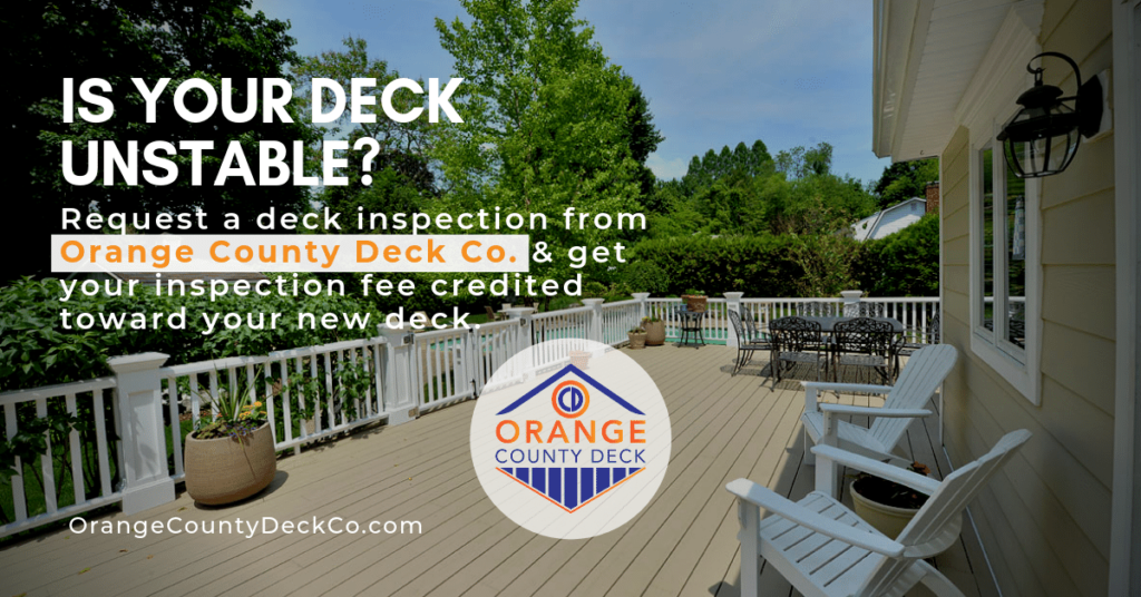 deck pictured with beige composite decking by azek , white railings and posts with white porch recliners, is your deck unstable graphic for Orange County Deck Builder OCD