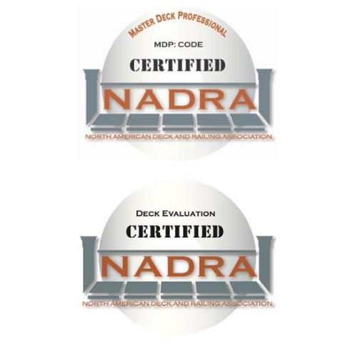 NADRA certified master deck professional logo and NADRA deck evaluation certified logos , north american deck and railing association certificates