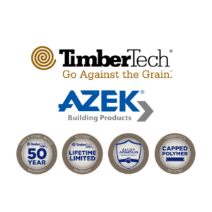 Timbertech and Azek building products logos plus azek four circle badges showing the warranties for decking products brown and blue themes