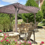 Pergola and outdoor bar with firepit in Hudson Valley NY
