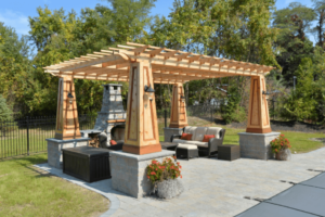 Pergola with outdoor fireplace in Goshen NY